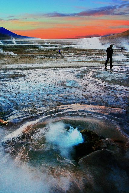 El Tatio, Chile. El Tatio is a geyser field located within the Andes Mountains of northern Chile at 4,200 meters above mean sea level.