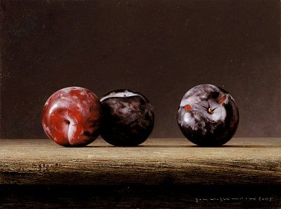 """Bernard Verkaaik """"Three Plumbs II"""" 2005. Oil paint on panel. 18x24 cm."""