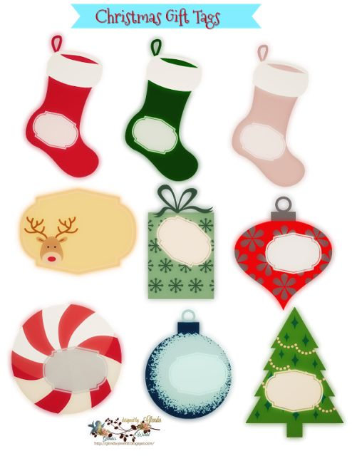 FREE from glenda's World : 2017 Christmas Designs  Retro Gift Tags