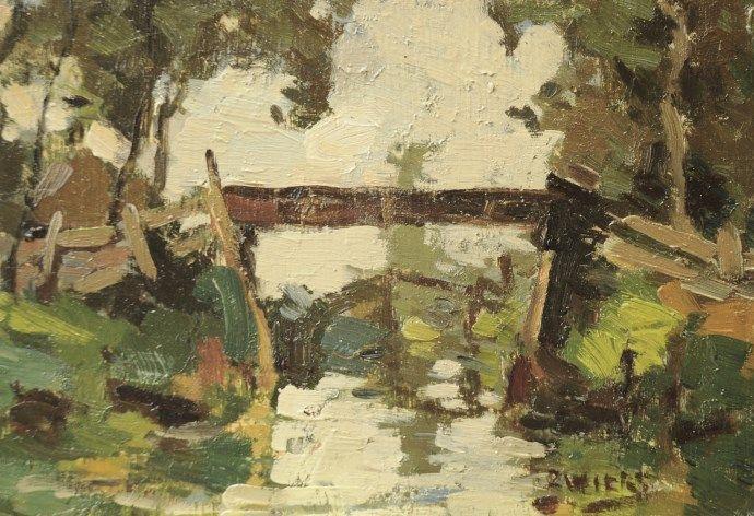 Piet Roelof Zwiers Meppel 1907-1965 Bruggetje in Giethoorn (tezamen met 16934), olie op paneel 13 x 19,9 cm., gesigneerd r.o. Prijsklasse: tot 2.500 euro Hij werd in 1907 geboren in Meppel en woonde en werkte bijna zijn hele leven in de Kop van Overijssel, eerst in Steenwijk en daarna in Giethoorn . Dit dorp en het omringende landschap liggen aan de basis van tal van schilderijen en aquarellen