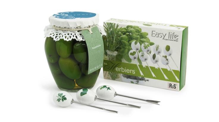 Nella confezione regalo Denota: set di 8 forchettine con pomello in ceramica decorato e Olive di Cerignola.