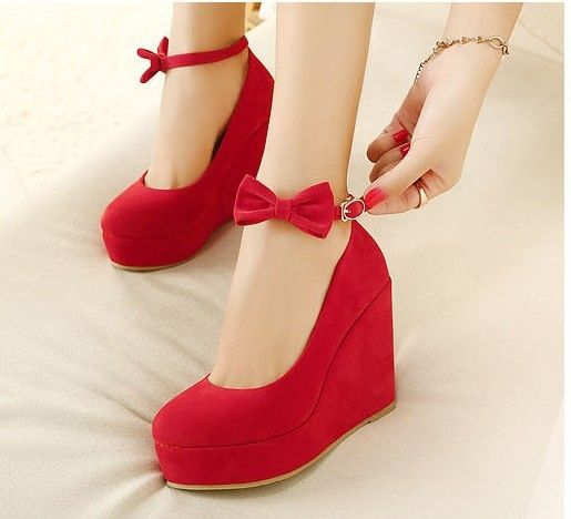 Free Shipping Spring And Autumn Velvet Bow Comfortable Wedges Shoes Red Wedding Womens High