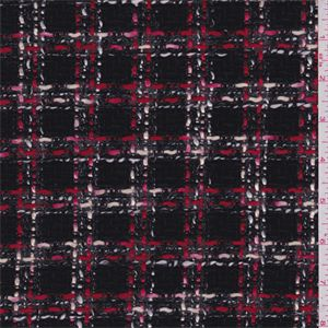 "Black, buttercream, red, white and dusty pink 1"" yarn dyedcheck. This medium/heavy weight polyester/rayon blend fabric has a textured surface.Compare to $12.00/yd"