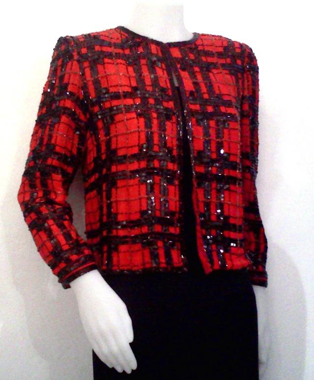 Giacchino rosso e nero anni '90, in chiffon, lavorato con paillettes - Red and black 90s jacket, chiffon and sequins (http://www.facebook.com/#!/jsvintage)
