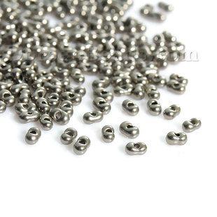 (Japon Importation) Perles de Rocailles en Verre Étain Antique Cacahuète 4mm x 2mm, Taille de Trou: 0.8mm, 10 Grammes (Env. 30 PCs/Gramme)