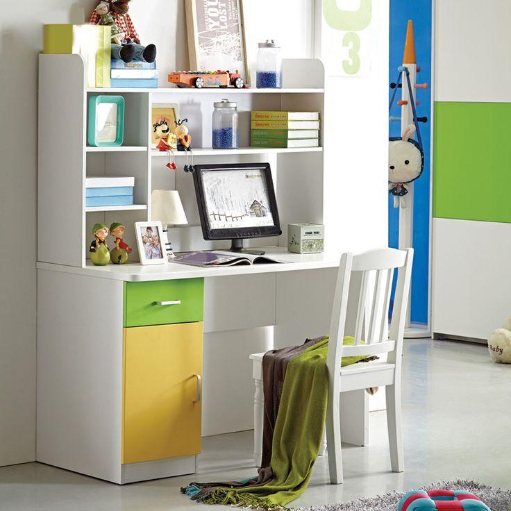 Детский белый стол с большими книжными полками с зеленым ящиком и желтой дверцей купить в интернет-магазине https://lafred.ru/catalog/catalog/detail/43136699586/