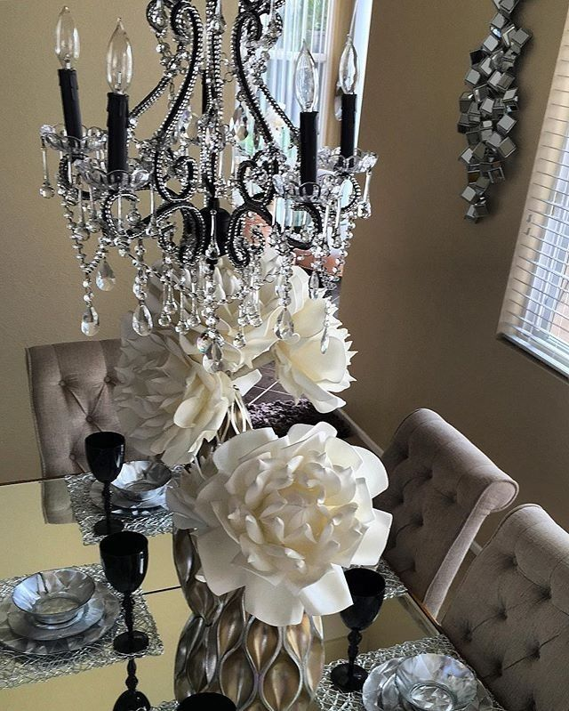 @carvgladys84's dining room gets a glam upgrade with our Venezia Chandelier, Sequence Vase, Florals, and Onyx Stemware.