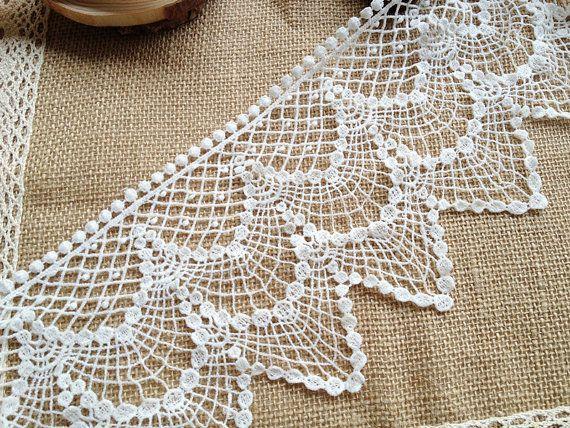 Cotton Crochet Lace, Vintage Cotton Lace, White Cotton Fabric, Hollow Out Lace at PrettyLaceShop