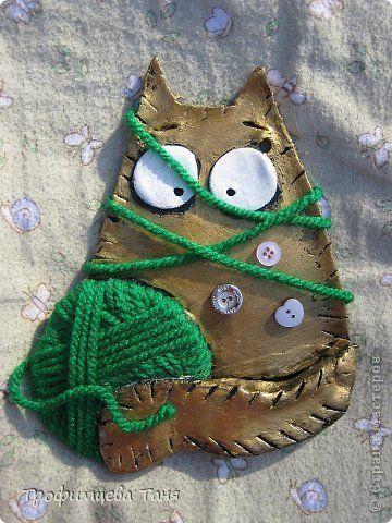 Поделка изделие Лепка коты из теста а-ля Maria Van Bruggen cats Бусины Кофе Нитки Тесто соленое фото 2