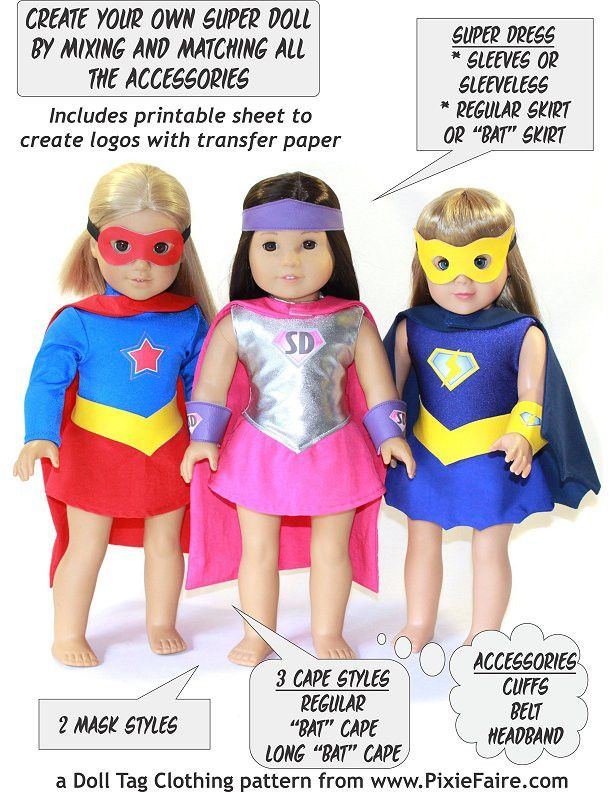 Halloween Costume Superhero Outfit 18 inch Doll Clothes Pattern www.pixiefaire.com
