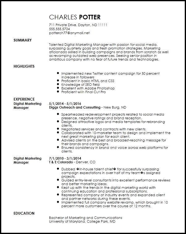 Free Creative Digital Marketing Manager Resume Template Marketing Resume Digital Marketing Manager Resume Examples