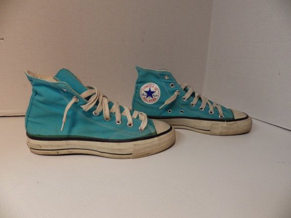 Vintage 1980s Turquoise Converse All Stars High Tops Made in