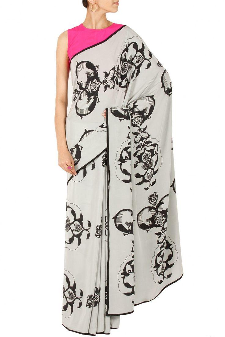 Grey ottoman sari with hot pink blouse BY PAYAL SINGHAL.Shop now at perniaspopupshop.com #perniaspopupshop #clothes #womensfashion #love #indiandesigner #payalsinghal #happyshopping #sexy #chic #fabulous #PerniasPopUpShop