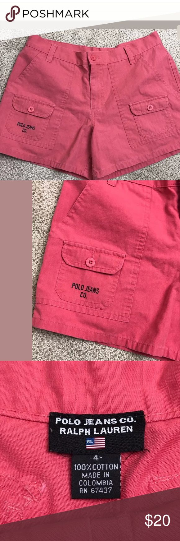 Polo Jeans  Ralph Lauren Women's Pink Cargo Shorts Polo Jeans  Ralph Lauren Women's Pink Cargo Shorts SZ 4    CONDITION: Pre Owned , Excellent Used Condition MEASUREMENTS are Approximate, laying flat & not stretched.  12 inches outseam 28 In Waist Polo by Ralph Lauren Shorts