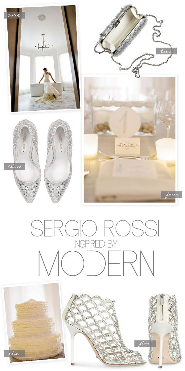 Modern Inspiration by Sergio Rossi http://www.sergiorossi.com/us/en/eStore/women/women-shoes-Bridal-Collection/ClassicBridal.aspx  Wedding Photography by http://augiechang.com/ and http://www.abbyjiu.com/, Product Images by http://www.createthegroup.com/en/agency/digitalstudio/