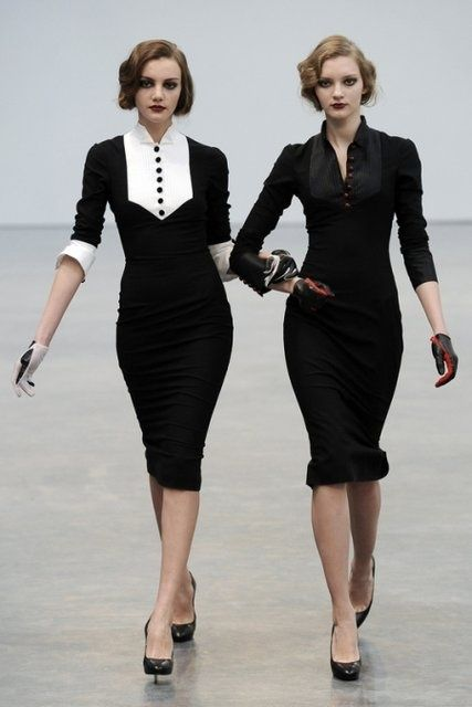 Chic Professional Woman Work Outfit. Bridesmaids in Black and White