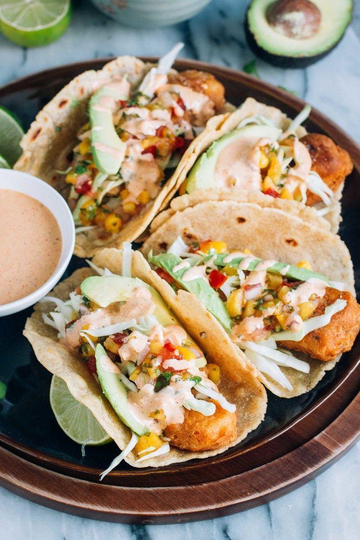 Baja Fish Tacos with Tropical Salsa & Chipotle Crema via barerootgirl.com