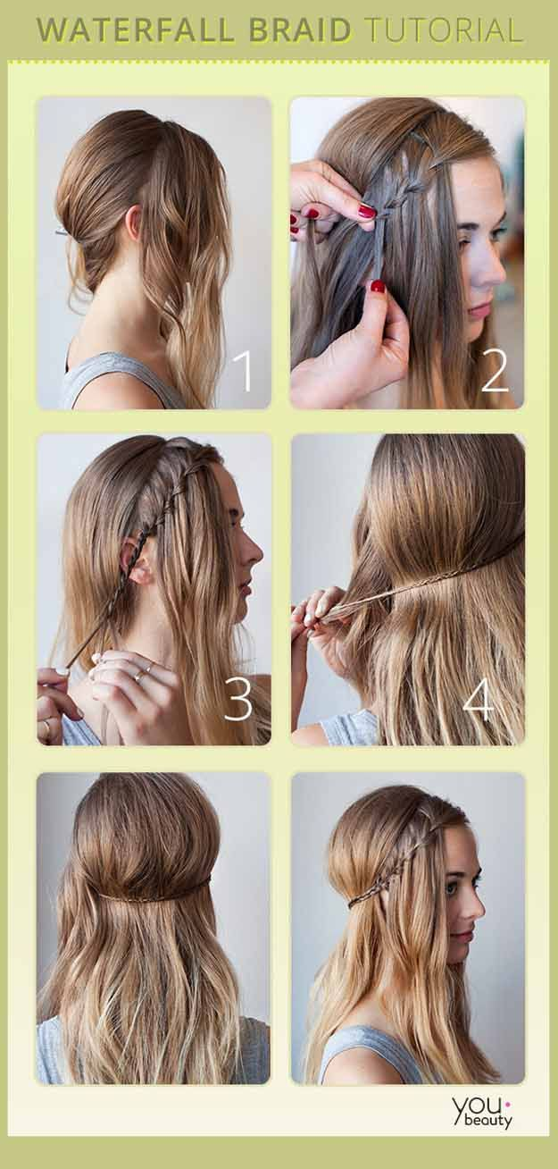 Best Hair Braiding Tutorials - Waterfall Braid Tutorial - Step By Step Easy Hair Braiding Tutorials For Long Hair, Pont Tails, Medium Hair, Short Hair, and For Women and Kids. Videos and Ideas for Dutch Braids, Messy Buns, Fishtail Braids, French Braids, Black Hair, Blondes, And Even For Headbands - https://www.thegoddess.com/best-hair-braiding-tutorials