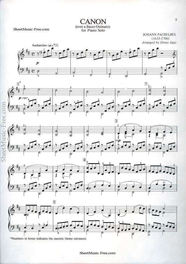 Canon Sheet Music Pachelbel Piano Sheet Music Free Piano Sheet
