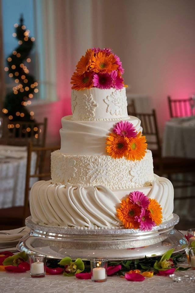 Pink And Orange Theme Wedding Cake