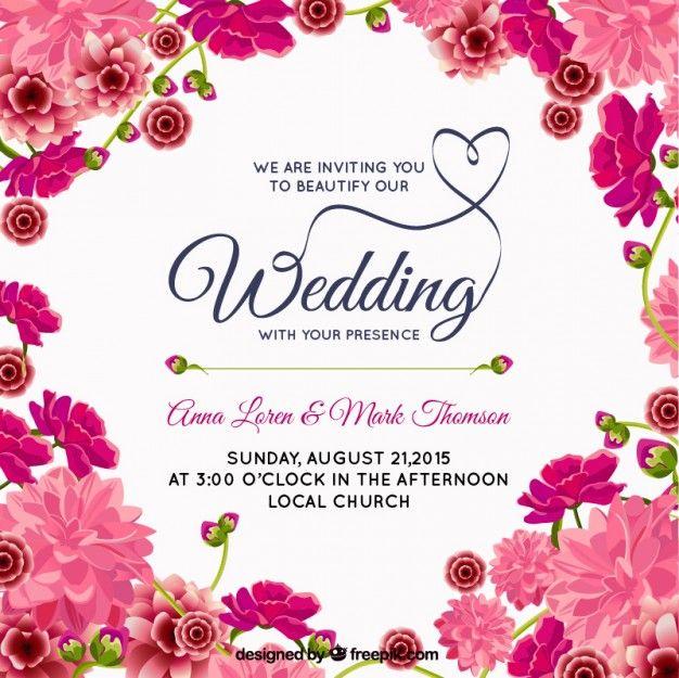 Convite floral rosa do casamento Vetor grátis