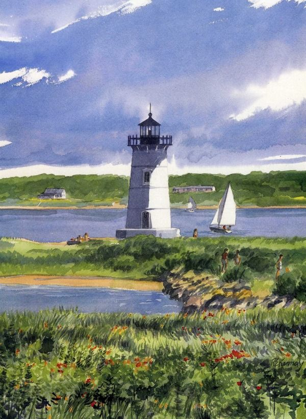 Famous Beach Lighthouse Sailboat Painting Museum