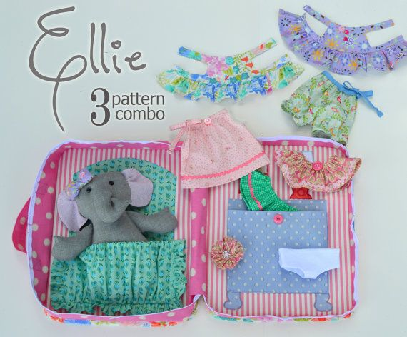 3 PATTERN COMBO Ellie Baby Elephant PDF Doll Pattern, Wardrobe and Travel Case