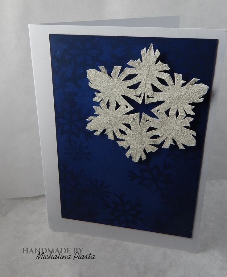 snowflakes; simply white and navy; stamps and embossing powder