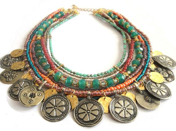 Beaded multiple strands antique kuchi coin necklace - indian summer ethnic jewelry - bohemian hippie gypsy style