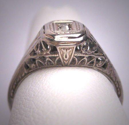 Simple Rare Antique Old Euro Diamond Ring Vintage Victorian Art Deco White Gold Filigree Wedding Egyptian Revival