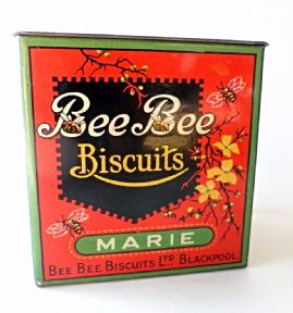 HTF Antique Vintage Biscuit Tin Bee Bee Biscuits Ltd Blackpool Marie Sample Money Savings Box 1920s 1930s Symbols Lyons #FollowVintage