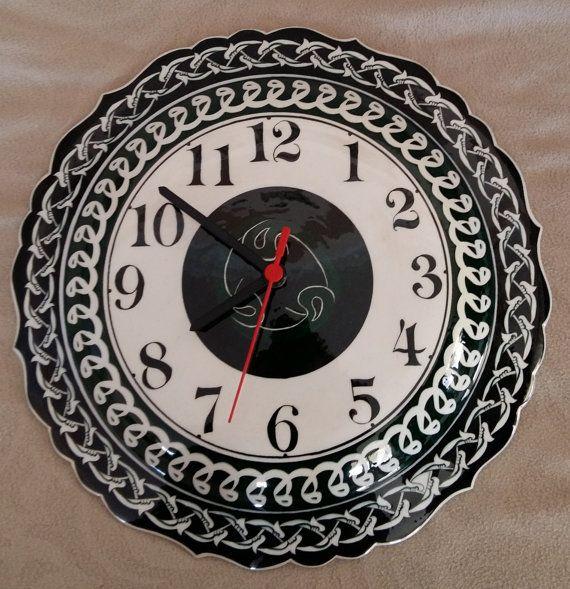 Turkish ottoman handmade iznik tile wall hanging clock iznik vintage clock by nurceramicarts