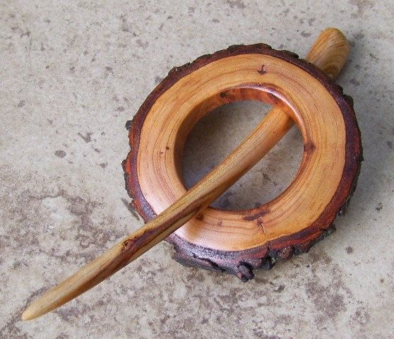 Rustic Tree Branch Shawl Pin/Hair Stick Set -  Cherry Wood - Great Gift Item - 278. $24.99, via Etsy.
