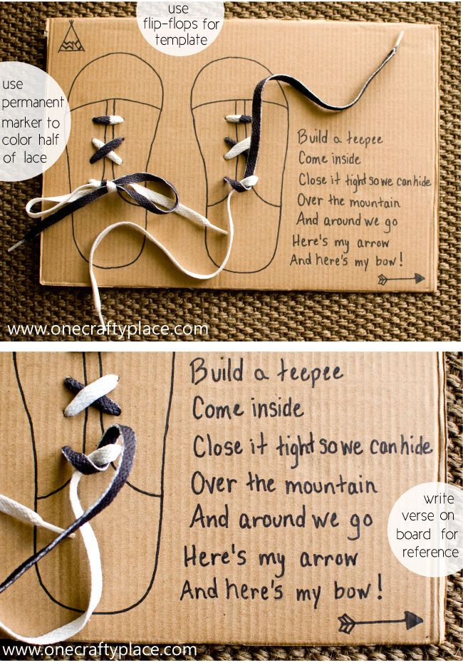 Great tips for teaching a child to tie their shoes! One Crafty Place