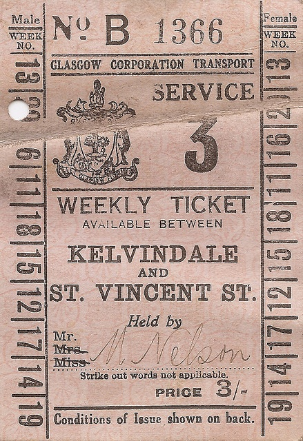 Glasgow Corporation Transport - weekly ticket - Service 3, Kelvindale & St Vincent St, nd    A small item of ephemera from the old Glasgow Corporation Transport Department - one of the UK's greatest municipal operators. No date on this but it 'feels' 1930s and was valid on service 3 between Kelvindale and the city centre at St Vincent St. The ticket was printed by the old Glasgow Numerical Printing Company.