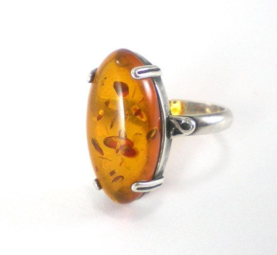 Amber Ring Sterling Silver Honey Gold Vintage Jewelry by Paleorama