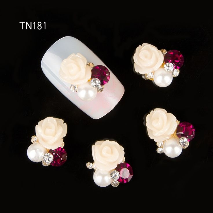 10pcs 3d rhinestones for nails art charms jewelry adhesive rhinestones for manicure decoration rose design strass nail art
