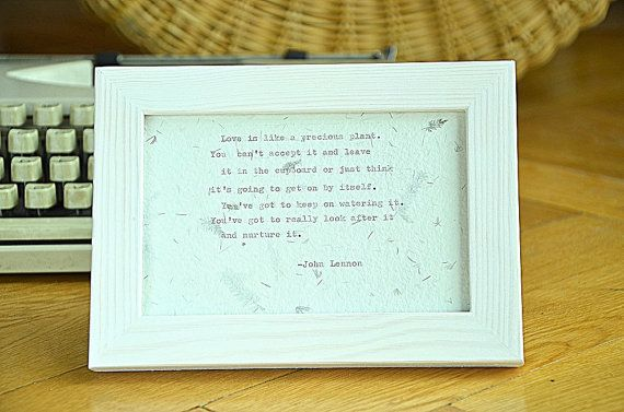 Framed John Lennon quote love quote handmade by photoplasticon