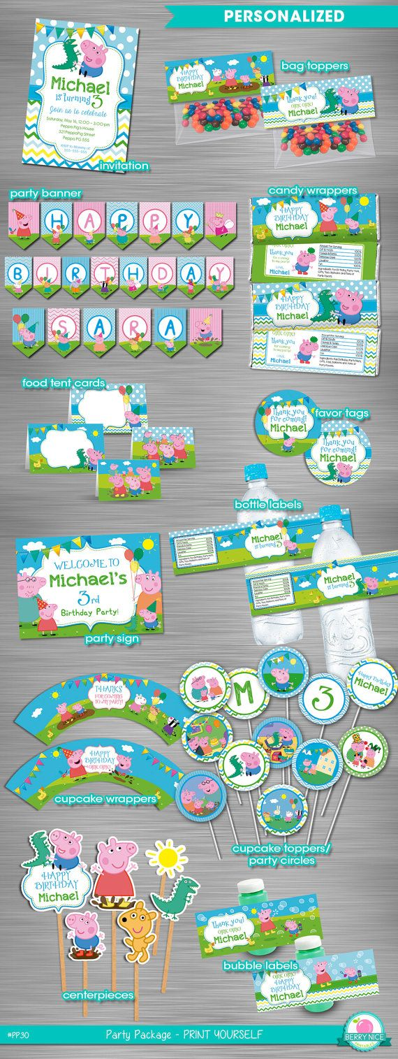 George Pig Peppa Pig Party Package by berryniceprintables on Etsy
