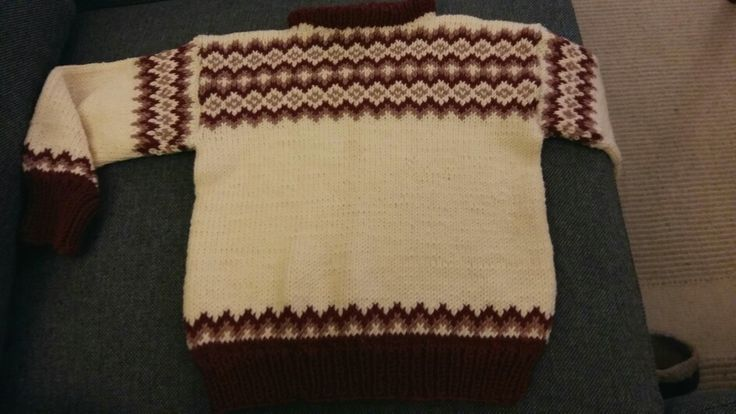 Traditional Norwegian pattern found in my grandmother's draw. Makes a warm sweater for a two-year-old.
