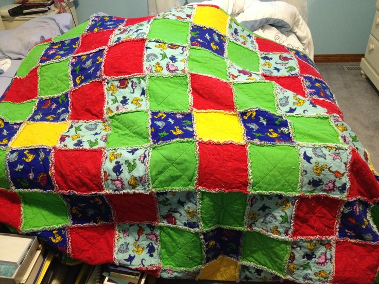 "Cute Dino rag quilt. 9x11 squares 8"" inch."