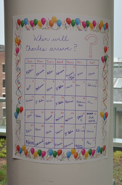 Baby shower game idea: pick the date. Pay for each bet winner splits the pot with the baby.