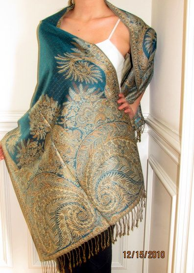 Designer pashminas are elegant for all occasions. I love teal pashmina shawls and buy them often for myself.