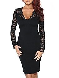 Vrouwen V-hals Sexy Slim met lange mouwen Cocktail Party Jurken