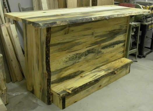 Rustic Blue Pine Bar With Foot Rail, Built For A Customer. We Used The