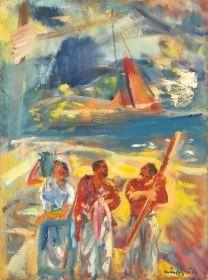 Márffy Ödön - Társaság tóparton (Hajósok vízparton, Halászok), 1946 körül
