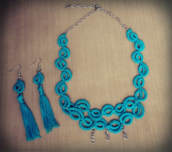 Set of tatted necklace and earrings w/ tassel