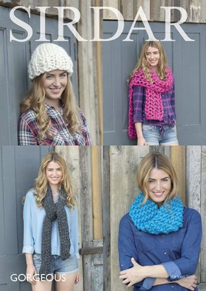 Sirdar 7964 Woman's Snood, Hat, and Scarve's in Sirdar Gorgeous #7 Weight Yarn
