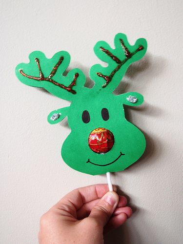Lollypop Nose Reindeer. Great craft idea for kids to sell.m