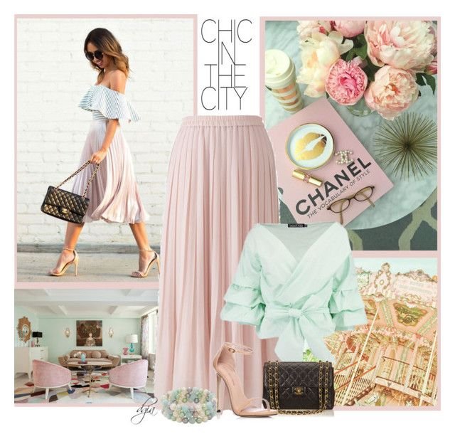 """Pleated skirt"" by dgia ❤ liked on Polyvore featuring Cotton Candy, Uniqlo, Chanel, Stuart Weitzman and Honora"